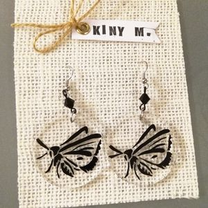 Handmade Lucite Earrings Clear Acrylic Moth Dangle